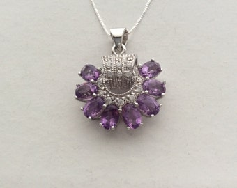 Natural Gemstone - Genuine Amethyst Sterling Silver Pendant Necklace