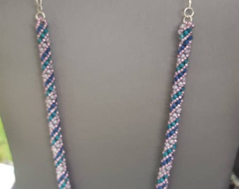 Beaded netting necklace seed bead necklace netting necklace  spiral necklace rope necklace hand crafted jewelry