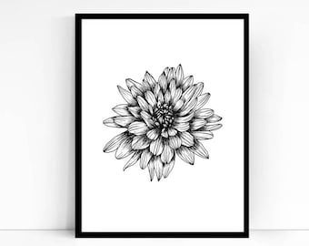 Printable Wall Art PDF - Chrysanthemum Illustration - Hand drawn Mum