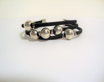 Silver Beaded Bracelet, Silver Beads, Triple Strand Bracelet, Faux Suede Bracelet, Beaded Bracelet, Multi Strand Bracelet, Fashion Jewelry