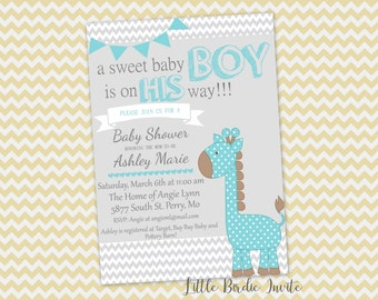 Blue Giraffe Baby Shower Invitation, Printable Baby Shower Invitation, Digital Baby Shower Invitation, Custom Baby Shower Invitation