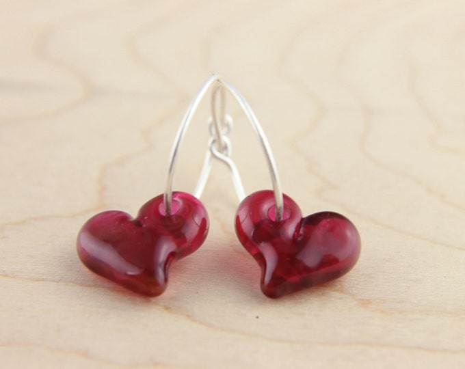 Cranberry 2 Earrings, hand made with glass and sterling silver, lamp work bead by Destellos - Glass Art & Accessories, READY TO SHIP