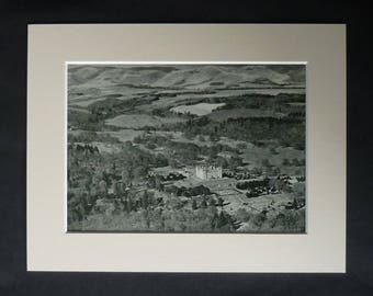 1930s Antique Scottish Matted Aerial Picture of Drumlanrig Castle in Dumfries and Galloway