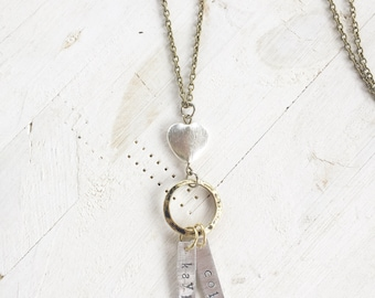 Heart Stamped Name Necklace