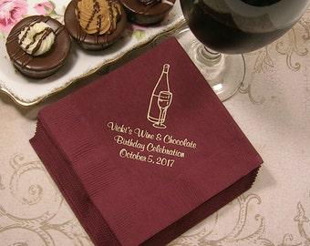 Personalized Birthday napkins  wine napkins adult birthday napkins personalized napkins Set of 50 beverage and luncheon napkins