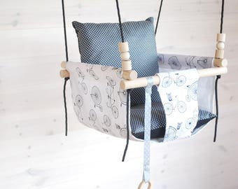 Baby Swing***Ships Fast***Wooden Swing/ Porch Swing/ Nursery Swing/ Indoor Swing/Baby Gift/ Cotton Fabric Swing/Hammock Swing/Holiday Gift
