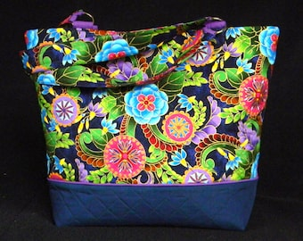 Large Bright Floral Blue and Purple Tote