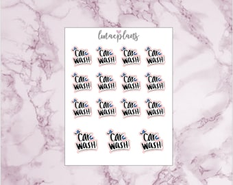 Car Wash - HandDrawn Functional Lettering Planner Stickers Erin Condren Life Planner ECLP Mambi Happy Planner Personal Travelers Notebook TN