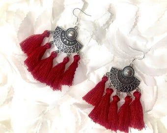 Ethnic earrings Bordeaux red agate