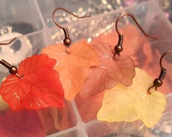 Fall Leaf Earrings - Autumn Leaf Earrings - Autumn Earrings - Thanksgiving Earrings - Halloween Earrings