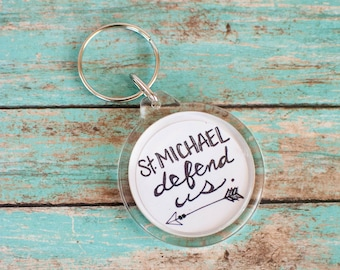 St Michael Keychain, Christian Going Away Present, Catholic Travel Gifts, St Michael the Archangel Keyring
