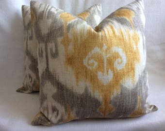Two Ikat Designer Pillow Covers - Gray/ Gold - Linen/ Rayon Fabric - 18x18 Covers
