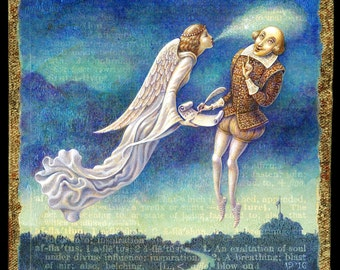 Writer Inspiration painting, Afflatus:  An angelic muse breathes inspiration to Shakespeare. Gift for writer, Letter A, fantasy art angel