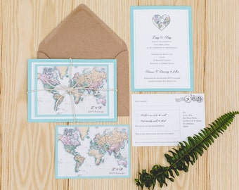 DEPOSIT: House Collection No.18 - World Map / Travel Inspired Wedding Invitation Set with RSVP, Envelope, Bespoke Motif and String – UK