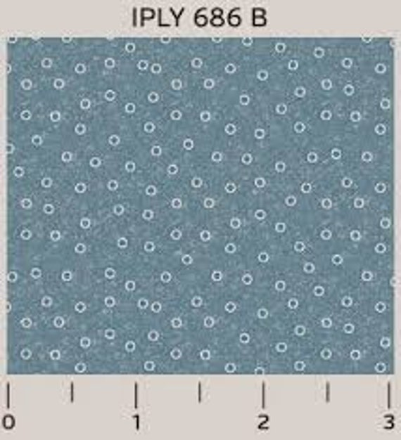 Little White Circles on Baby Blue Background Shabby Chic Interplay By Nancy Heffron Quilt Fabric by the Yard For P&B Textiles. iply 686blue