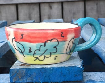 Cappuccino Cup, Cappuccino Mug, Colorful Cappuccino Mug, Hand painted Cappuccino  cup, Ready to Ship, Free gift packaging