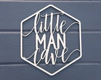 "Little Man Cave Geometric Wall Sign, 9.25""W x 11""H, Wooden Sign Cutout, Nursery Decor Bedroom Kids Boys Room Teen Room Laser Cut"
