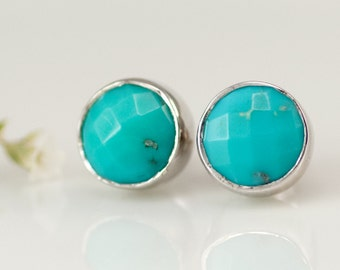 Stud Earrings - Turquoise Studs -  December Birthstone Earrings - Post Earrings - Silver Studs -  Gemstone Studs - Round Studs