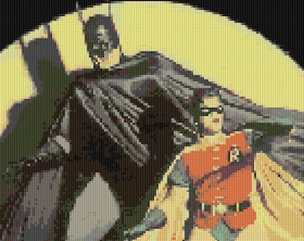 Batman and Robin counted Cross Stitch Pattern 70's TV show