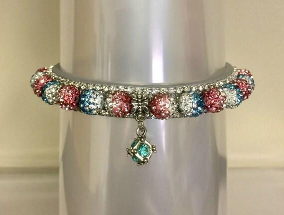 Cutie Pie Pet Collars TM ~Aqua Pink Pastel Fade Disco Ball~ Crystal Diamante Rhinestone Pet Dog Cat PU Leather Collar USA