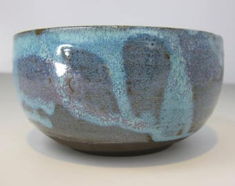 Turquoise and Purple Grain Bowl - Handmade Pottery - Ceramics and Pottery - Wheel-thrown Dark Brown Clay