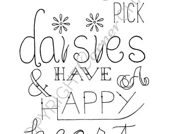 Daisies Embroidery, PDF Embroidery File, Daisies Embroidery Pattern, PDF Embroidery Pattern, Daisies Quote Embroidery, Typography Embroidery