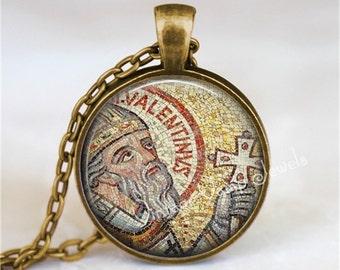 ST. VALENTINE Necklace, Valentine Necklace, St. Valentine Pendant, Valentine Pendant, Saint Necklace, Valentine Jewelry, Glass Art Necklace