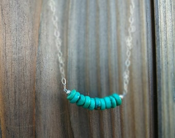 Turquoise on a Sterling Silver Chain Necklace