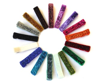 5 Glitter Alligator Clips | glitter clips | glitter ribbon | clips lined with glitter ribbon