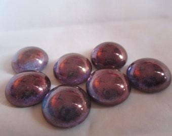 18mm Czech Purple Lustre Glass Cabochons 2Pcs.