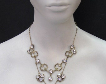 Swarovski Crystal Antique Gold Plated Necklace 6379