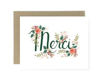 Greeting Card - Floral Merci
