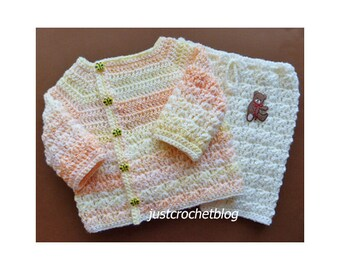 Crochet Wrapped Jacket and Pants Baby Crochet Pattern (DOWNLOAD) 161BFJC