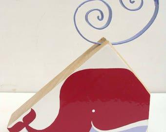 """Whale raspberry"" wood decorations"