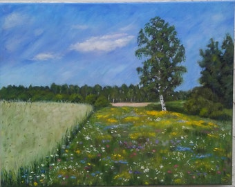 Original oil painting Summer landscape: a sunny day, green grass and trees, a wheat field, flowering flowers. Free shipping