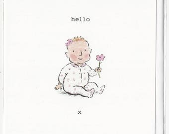Hello Baby Girl birthday greetings, celebration card