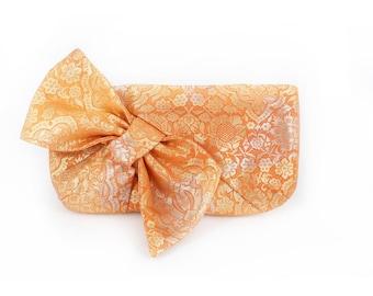 Kimono Obi Bow Clutch   Damask in Orange and Gold   Upcycled Japanese Vintage Textiles Purse