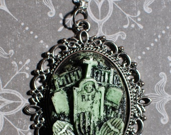 Halloween  Jewelry - Creepy Cute Gothic Necklace  -  Cemetery Necklace with Tombstones Caskets and Skeleton Hand-Deadly Nightshade Green