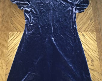 Vintage blue velvet dress size medium