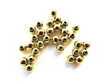 50 PC wood beads in lime green metallic 3 mm diameter