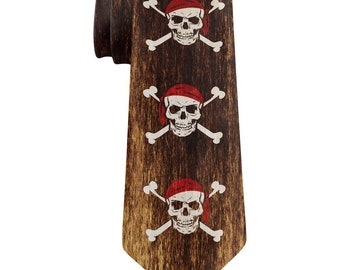 Jolly Roger Pirate Flag Distressed Grunge All Over Neck Tie