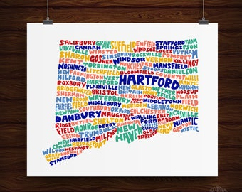 Hand Lettered Connecticut State Print, Connecticut Shape, Connecticut Gift, Connecticut Artwork