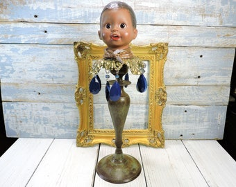 Hat Stand Tall Cowboy Baseball Hat Holder Hat Display Brass Candlestick Blue Tear Drop Crystals Upcycled Baby Doll Head