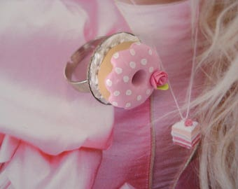 sweet pink DONUTS and silver costume jewelry ring