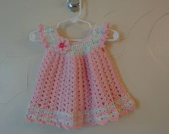 Baby girls crochet lacy dress. Soft Pink yarn