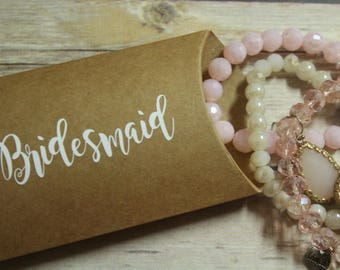 Bridesmaid Pillow Box Tan - Will You Be My Maid of Honor - Bridesmaid Proposal - Personalized Jewelry Boxs