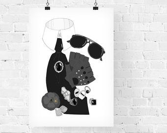 Karl Lagerfeld What's in my Bag Portrait Fashion Illustration Art Print