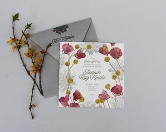 SAMPLE - Floral Letterpress Birth Announcement