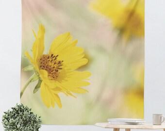 Yellow Tapestry - Art Wall Hanging - Yellow Wild Flowers - Nature Tapestry - Photo Tapestry - Photo Wall Hanging - Modern Photography