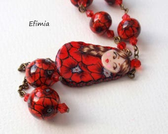 Necklace decor poppies, red flowers pendant matryoshka Russian doll